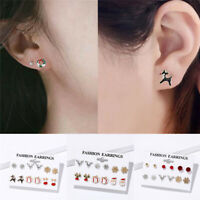 8 Pairs/set Christmas Tree Snowman Deer Bell Ear Stud Earrings Xmas Party Decor