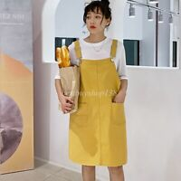 Women's Straps A-line Cotton Pinafore Bib Pocket Overall Dress Suspender Skirt