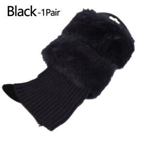 Women Winter Warm Crochet Knit Fur Trim Leg Warmers Cuffs Toppers Boot Socks