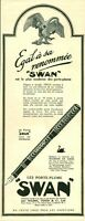 Publicité ancienne porte-plume Swan 1925 issue de magazine
