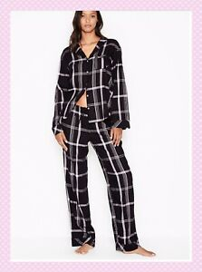 NEW Victoria Secret Flannel PJ Set Black Plaid Cozy Pajamas Size M NWT