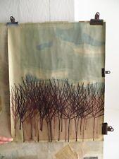 vintage original block print - winter tree landscape