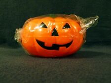 Small plastic Halloween pumpkin, opens in half,  with strap, NEW, purse sized