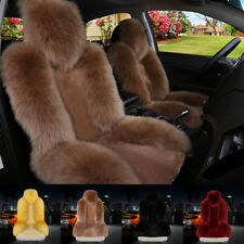 Soft Car Sheepskin Front Seat Cover Cushion Mat Long Wool Fur Fits Most Car NEW