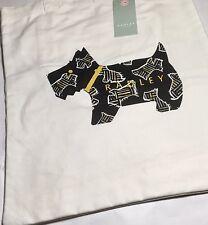 """Radley London Cream Canvas """"Kenwood"""" Black Dog Tote Book Bag Shoulder Bag"""