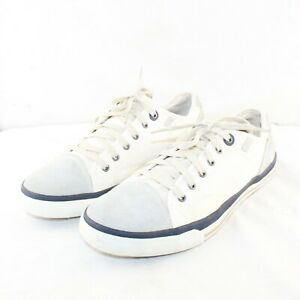 SKECHERS men's lace up flats white & gray leather & fabric upper shoes size 11 M
