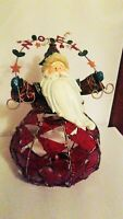 Kirkland's Holiday Glassworks Handcrafted Metal and Glass Art - Santa 12""