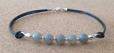 LABRADORITE 6mm Beads, Black Leather Cord, Silver Plated, Friendship Bracelet