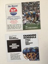 Vintage San Diego Chargers 1984 & University of California 1981 Football Schedul