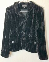 Randy Kemper Crushed Velvet  Jacket Ruffle Collar Size 6   SS0497