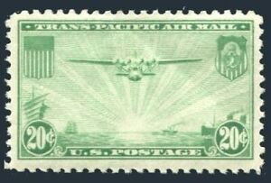 United States C21,hinged.Mi 400.Air Post 1937.The China Clipper over Pacific.