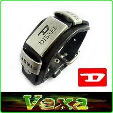 DIESEL Genuine Leather Bracelet Black Bangle Wristband Men & Women Surf ska BD02