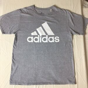 Adidas The Go-To Tee Shirt White Patterned Logo Women's Size Large Gray