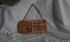 Stone Welcome Sign/Plaque with Deer by Thirstystone Leather Hanging String