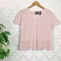 Vintage Pink Crochet Short Sleeve Button Front Cardigan Sweater