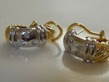 $4150 DAVID YURMAN 18K GOLD METRO DIAMOND EARRINGS TWO TONE