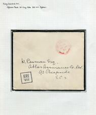 King Edward Viii- 1936 July 20 Red Official Paid on envelope, mounted on page