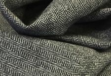 All Wool Tweed herringbone fabric jacketing Black And White 2.5mts