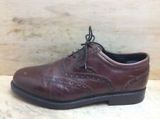 Clarks Mens Brown Leather Brogue Lace Up Shoes Size UK 8 EU 42 Extra Wide