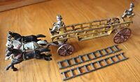 Hubley Horse Drawn Fire Truck Vintage Ives Cast Iron Ladder Wagon Early 1900s