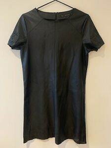 Zara Leather Mini Shift Dress With Cut Out Detail