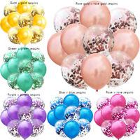 12'' Foil Confetti Latex Balloons Helium Wedding Birthday Party Decor 10Pcs