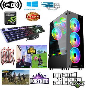Fast Gaming Computer Desktop Intel Core i5 16GB 4TB 256GB SSD Win10 GT710 Wifi