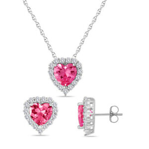 "Pink Sapphire Heart Cut Halo Set With Earring & Pendant 18"" Chain Valentine Gift"