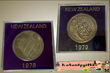 Pair of Cased New Zealand Cupro-Nickel Crowns
