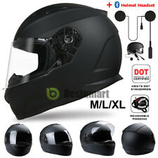 DOT Motorcycle Full Face Helmet Modular Bike Race Scooter Matte Black M/L/XL New
