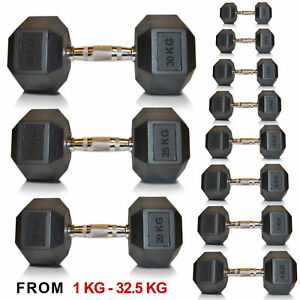 Hex Dumbell Weights, Sporteq Gym Use Rubber Encased 1kg to 30kg, Sold in Pairs.