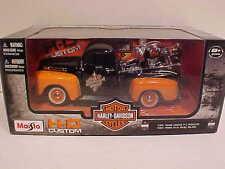 1948 Ford F-1 Pickup Truck Die-cast 1:24 Harley Davidson 8inch Black w Orange
