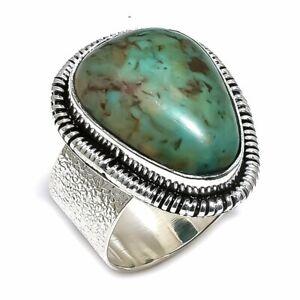 Tibetan Turquoise Gemstone Handmade 925 Sterling Silver Ring Size 8