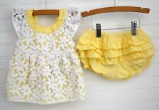 Girls GYMBOREE Sz 18 24m Dress Set Yellow White Daisy Spring Dressy Organza Set