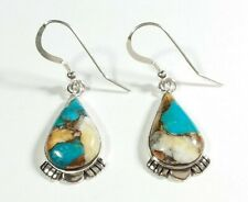 """925 STERLING SILVER ETCHED SPINY OYSTER & TURQUOISE 1 1/2"""" HOOK EARRINGS"""
