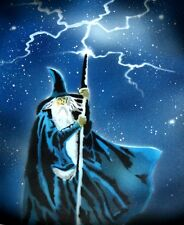 NEW! WIZARD Airbrushed Black T-shirt design, Any size up to 6X