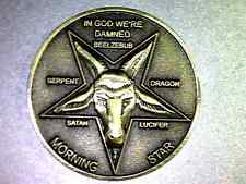 """Lucifer / Morning Star / Satan / Pentecostal  - 1 1/4"""" Solid Brass 3D  Coin"""