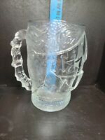 Excalibur Vegas Heavy Glass Beer Mug Embossed Gladiator Knight's Helmet luminarc