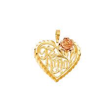 Real 14K Yellow Rose Gold Flower Heart Love TE AMO Vintage Charm Pendant