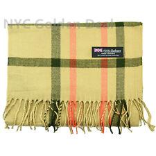 Men's 100% CASHMERE Scarf tartan BEIGE Plaid Design Soft MADE IN SCOTLAND