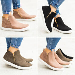 Women Flat Ankle Boots High Top Trainers Sneakers Pumps Zipper Casual Shoes Size