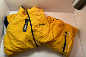 Vintage 90s Fubu Sport Track Training Suit Yellow Jacket Pants Mens Size XL
