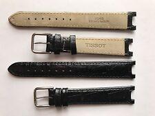 VINTAGE Tissot Nero Imbottito in Pelle Estremità SPECIALE 15mm x 8mm fibbia in acciaio Slot