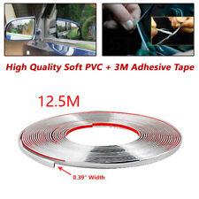12.5m Chrome 3M Adhesive Car Door Edge Moulding Trim Kit Guard Strip Protector