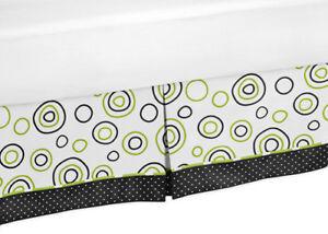 Sweet Jojo Design New Kids / Teens Spirodot Lime & Black Queen Bed Skirt