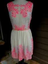 4b7d32848ce GIANNI BINI Sheer Floral Embroidered Dress Women s Small Pink on Ivory