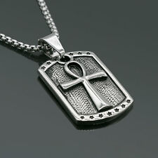 "24"" Men's Stainless Steel Silver Jesus Round cross Pendant necklace Chain"