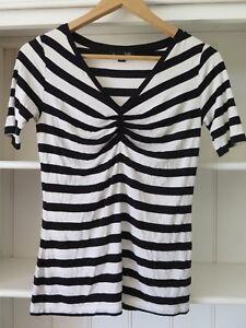 MINKPINK Sz S Black & White Striped Halter Neck Top GC - photos