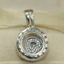 New Authentic Pandora Floating Locket Pendant With Heart 792144CZ W Suede Pouch