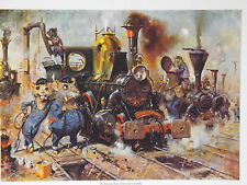 Cuneo Fine Arts - The Running Sheds of the Great Caerphilly by Terence Cuneo
